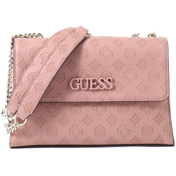 ゲス GUESS JANELLE LOGO-DEBOSSED CONVERTIBLE CROSSBODY FLAP (ROSEWOOD)