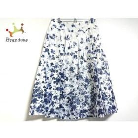 アニエスベー agnes b スカート サイズ38 M レディース 美品 白×ネイビー 花柄 新着 20190821