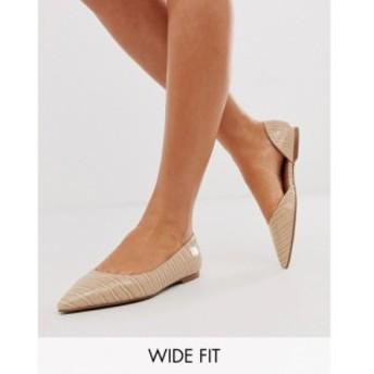エイソス ASOS DESIGN レディース スリッポン・フラット シューズ・靴 Wide Fit Virtue d'orsay pointed ballet flats in croc Warm beig