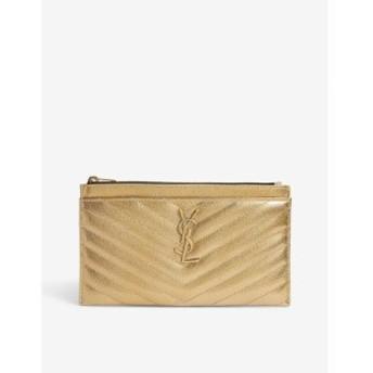 イヴ サンローラン SAINT LAURENT レディース ポーチ Monogram quilted leather pouch Brun metallic gold