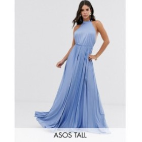 エイソス ASOS Tall レディース ワンピース ワンピース・ドレス ASOS DESIGN Tall Halter Pleated Waisted Maxi Dress Dusky blue