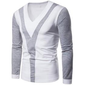 Simgahuva メンズ Tシャツ ロングスリーブ トップス カジュアル日常 Grey L