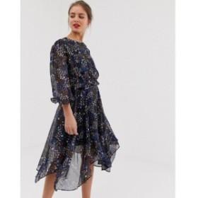 ヴィラ Vila レディース ワンピース ワンピース・ドレス hi low hem floral dress Dark navy v flower