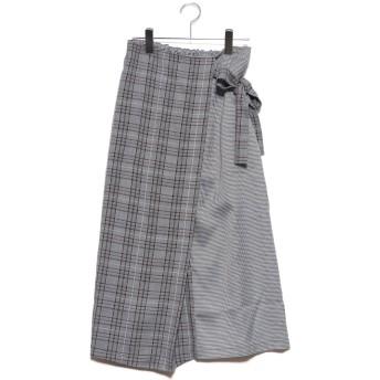 スタイルブロック STYLEBLOCK 先染めチェック柄切り替えラップ風スカート (ホワイト)