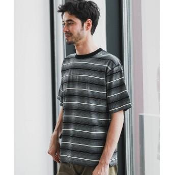 【30%OFF】 グリーンレーベルリラクシング SC マルチランダムボーダー クルー SS Tシャツ メンズ BLACK L 【green label relaxing】 【セール開催中】