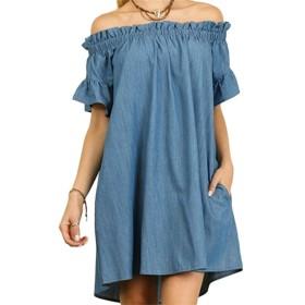 Liebeye ジーンズドレス 女性 ファッション オフショルダー ドレス セクシー 半袖 ワンピース ジーンカウボーイ ドレス スカート ロングブラ 1字の襟 3XLライトブルー