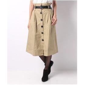 BELLE BELLA ベルト付フレアースカート(キャメル)【返品不可商品】