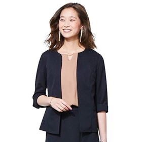 [nissen(ニッセン)] うすカル カノコ ジャージ ーキーネック ジャケット 上下別売り スーツ レディース 黒 S