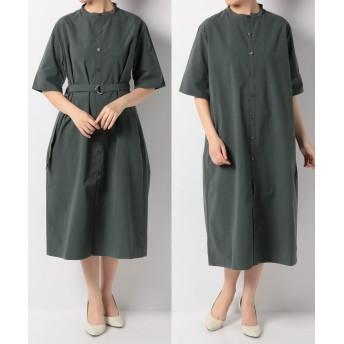 ベルト付バンドカラーシャツドレス