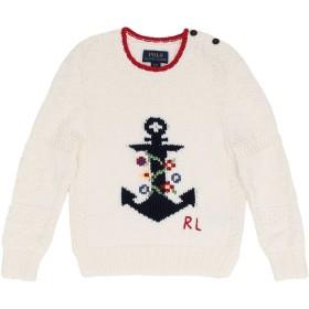 《9/20まで! 限定セール開催中》RALPH LAUREN ガールズ 3-8 歳 プルオーバー アイボリー 3 コットン 100% Intarsia-Anchor Cotton Sweater