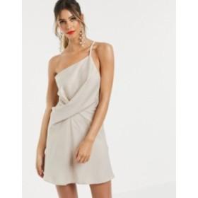 エイソス レディース ワンピース トップス ASOS DESIGN mini dress with one shoulder in satin Oyster