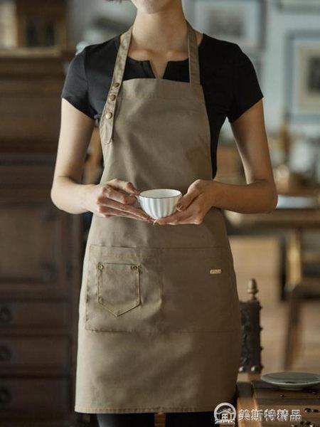 圍裙韓版時尚廚房成人防油純棉咖啡廳牛仔工作圍裙女