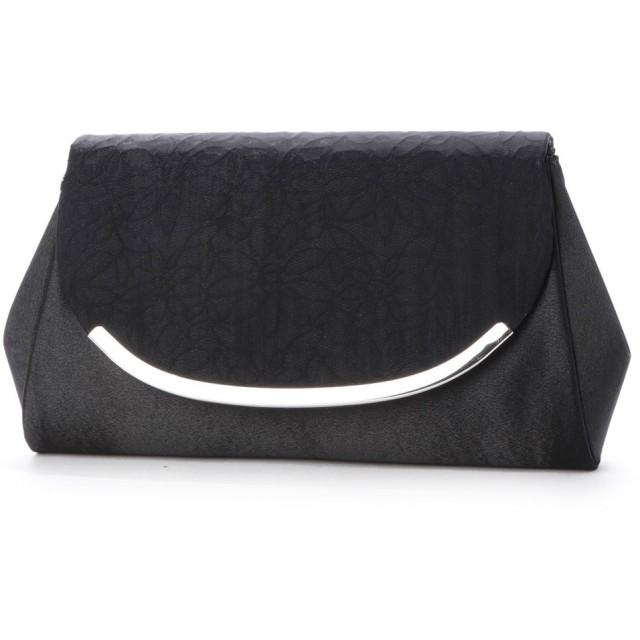 スタイルブロック STYLEBLOCK 台形デザイン花柄レースフラップパーティークラッチバッグ (ブラック)