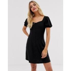 ニュールック レディース ワンピース トップス New Look broderie button prairie dress in black Black