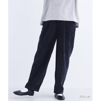 メルロー ベロア調タックパンツ レディース ブラック FREE 【merlot】