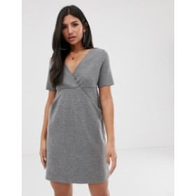 エイソス レディース ワンピース トップス ASOS DESIGN deep v brushed mini dress with concealed pockets Grey