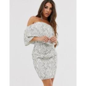 エイソス レディース ワンピース トップス ASOS DESIGN fallen shoulder lace mini dress Monochrome