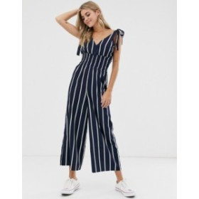 エイソス レディース ワンピース トップス ASOS DESIGN shirred waist tie shoulder jumpsuit in navy & white stripe Navy/white