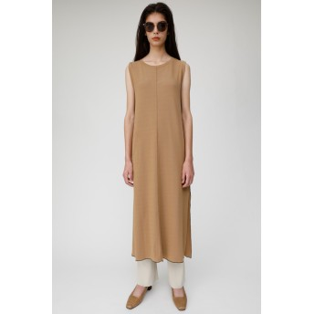 マウジー moussy SLEEVELESS RIB LONG DRESS (ベージュ)