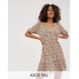エイソス ASOS Tall レディース ワンピース ワンピース・ドレス ASOS DESIGN Tall mini plisse tea dress pep hem in ditsy print Ditsy