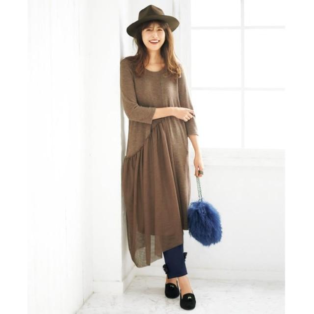チュールドッキングロング丈ワンピース(オトナスマイル) (大きいサイズレディース)ワンピース, plus size, Dress, 衣裙, 連衣裙