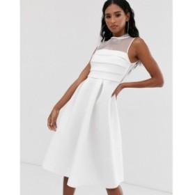 エイソス ASOS DESIGN レディース ワンピース ワンピース・ドレス organza panel prom midi dress White