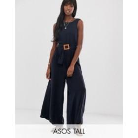 エイソス レディース ワンピース トップス ASOS DESIGN Tall soft denim belted wide leg jumpsuit Blue