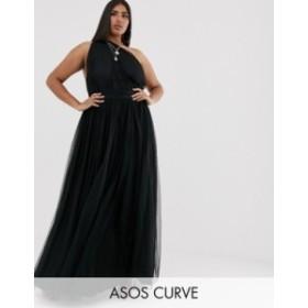 エイソス レディース ワンピース トップス ASOS DESIGN Curve one shoulder tulle maxi Black