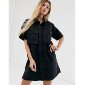 エイソス ASOS DESIGN レディース ワンピース ワンピース・ドレス denim boxy shirt dress in black Black