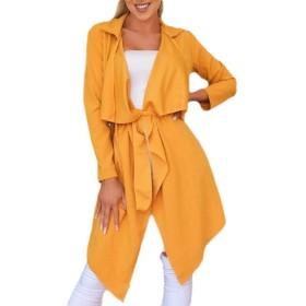 AngelSpace 女性のカーディスキニーソリッドカラー滝襟ストラップ付きアウトウェア Yellow XS