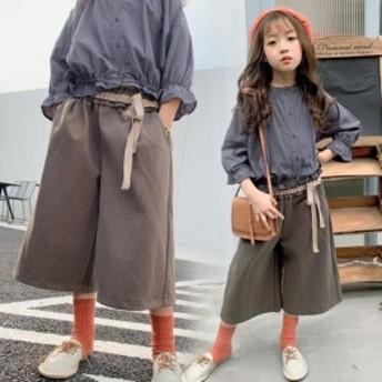 パンツ ボトムズ 子供服 女の子 子供パンツ 9分丈 秋服 ストレッチ 女の子 女児 子供 ベビー キッズ 子ども 無地
