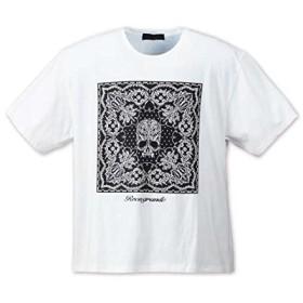 (ロエン グランデ) ROEN GRANDE 大きいサイズ バンダナ柄ドクロ半袖Tシャツ 3L ホワイト