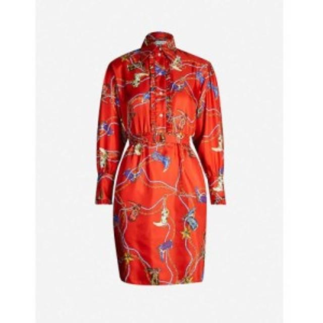 サンドロ SANDRO レディース ワンピース ワンピース・ドレス Graphic-print silk-satin dress Red