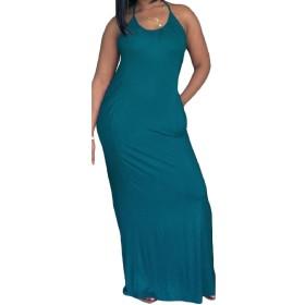 Romancly 女性の背部のソリッドカラークラシックスリップドレスホルターネックマキシ・ビーチ 1 S
