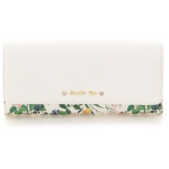 サマンサベガ 花柄ビジューリボン付きフラップ長財布 ホワイト