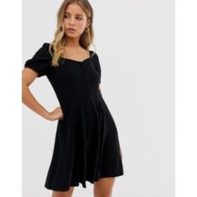 ニュールック レディース ワンピース トップス New Look button through tea dress in black Black