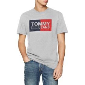 トミージーンズメンズエッセンシャルスプリットボックス半袖Tシャツ、グレー(Lt Grey Htr 038)、M