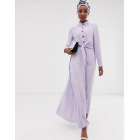 エイソス レディース ワンピース トップス ASOS DESIGN button through wrap maxi shirt dress Lilac