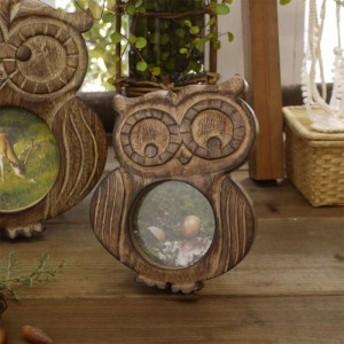 写真たて 木彫り ふくろう 縁起物 プレゼント ブライダル フォトフレーム アジアン雑貨