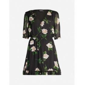 クーパース THE KOOPLES レディース ワンピース ワンピース・ドレス Floral-print silk-chiffon dress Black