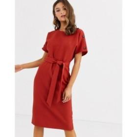 ウェアハウス Warehouse レディース ワンピース ワンピース・ドレス crinkle dress with belt in rust Orange