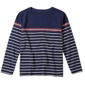 綿100%パネルボーダープリント長袖Tシャツ(男の子。女の子 子供服。ジュニア服) Tシャツ・カットソー