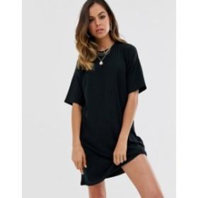 ニュールック レディース ワンピース トップス New Look ribbed mini t shirt dress in black Black