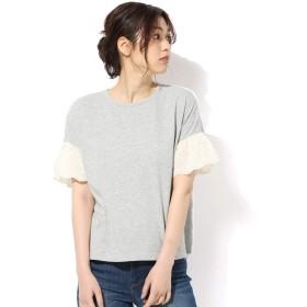 Tシャツ カットソー フリル 刺しゅう フレアスリーブ 無地 夏 UV 紫外線 吸水速乾 Honeys ハニーズ 袖刺繍使いTシャツ 578013555847 杢グレー M
