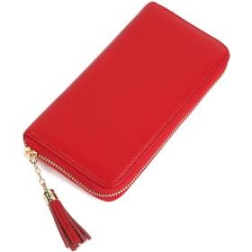 スエード レザー の 多機能 長財布 ラウンドファスナー レディース カード 大容量 無地 シンプル (レッド)