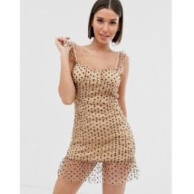 プリティリトルシング PrettyLittleThing レディース ボディコンドレス ワンピース・ドレス bodycon mini dress with mesh overlay in cr