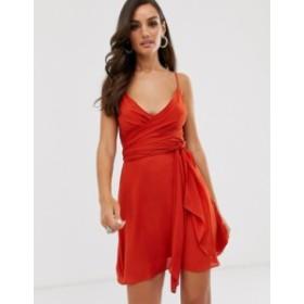 エイソス レディース ワンピース トップス ASOS DESIGN cami wrap mini dress with tie waist Burnt orange