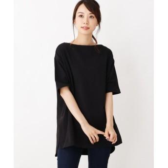 オペークドットクリップ 綿天竺チュニックTシャツ レディース ブラック(019) 40(L) 【OPAQUE. CLIP】