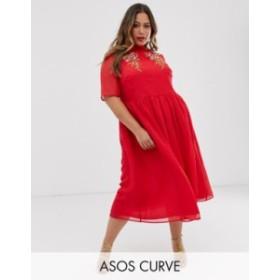 エイソス レディース ワンピース トップス ASOS DESIGN Curve high neck embroidered midi dress with fluted sleeves Red