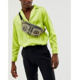 エイソス ASOS DESIGN メンズ ボディバッグ・ウエストポーチ バッグ faux leather cross body bum bag with black and gold baroque prin